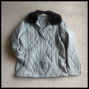 💚♥️Alfred Sung grey quited jacket with false fur